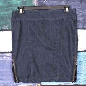 One 5 One Dark Wash Denim Zipper Pinup Skirt